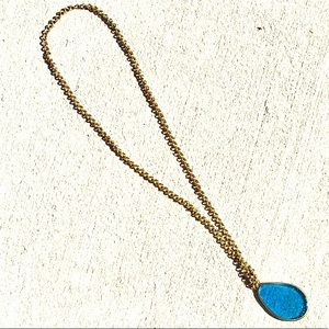 Anthropologie Aqua Blue Pendant Chain Necklace